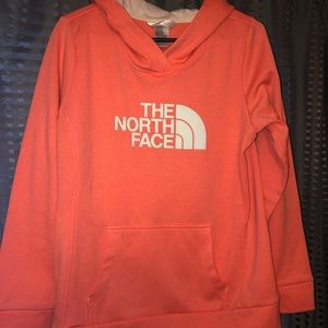 Women's coral The North Face hoodie